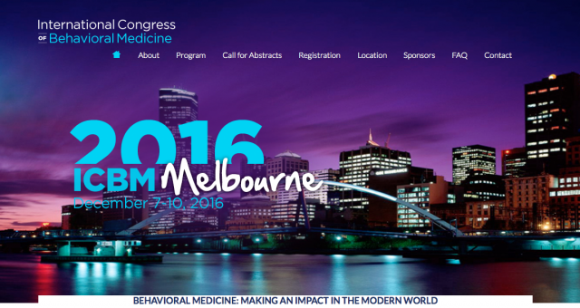 International Congress of Behavioral Medicine 2016